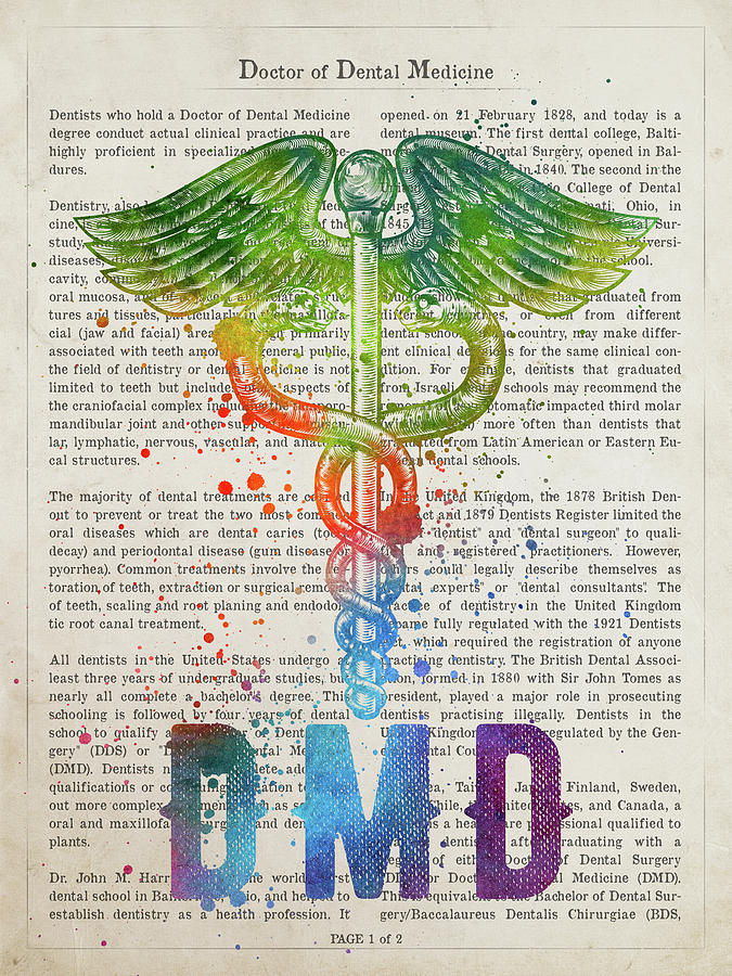 Dmd Photograph - Doctor Of Dental Medicine Gift Idea With Caduceus Illustration 0 by Aged Pixel