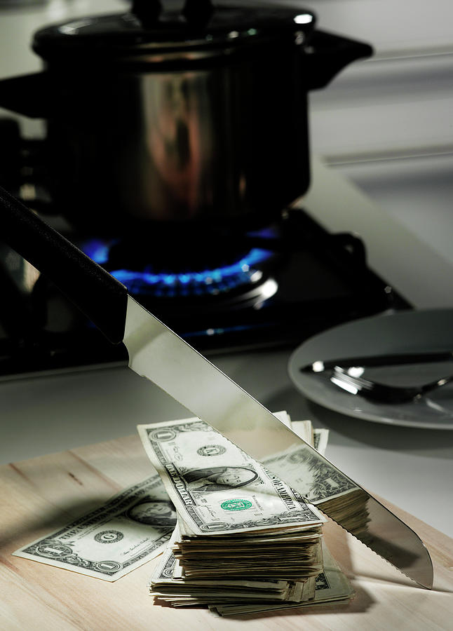 Dollar Bills In Frying Pan On Stove Photograph by Walter Zerla
