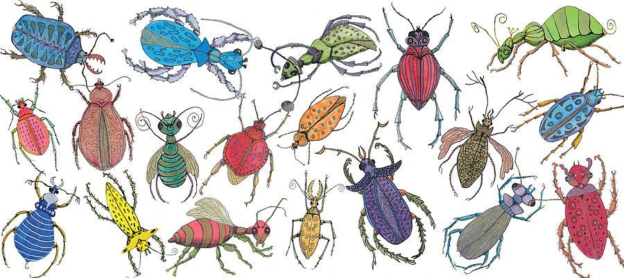 Bugs Painting - Doodle Bugs by Marie Stone-van Vuuren