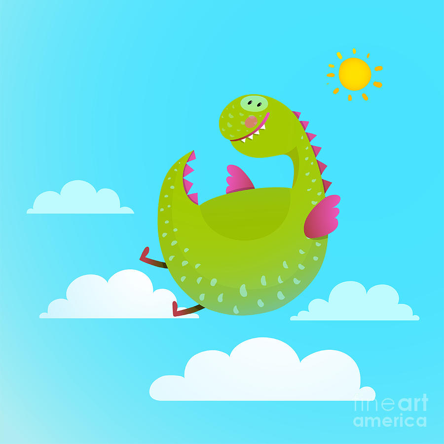Happy Digital Art - Dragon Flying In Sky Colorful Cartoon by Popmarleo