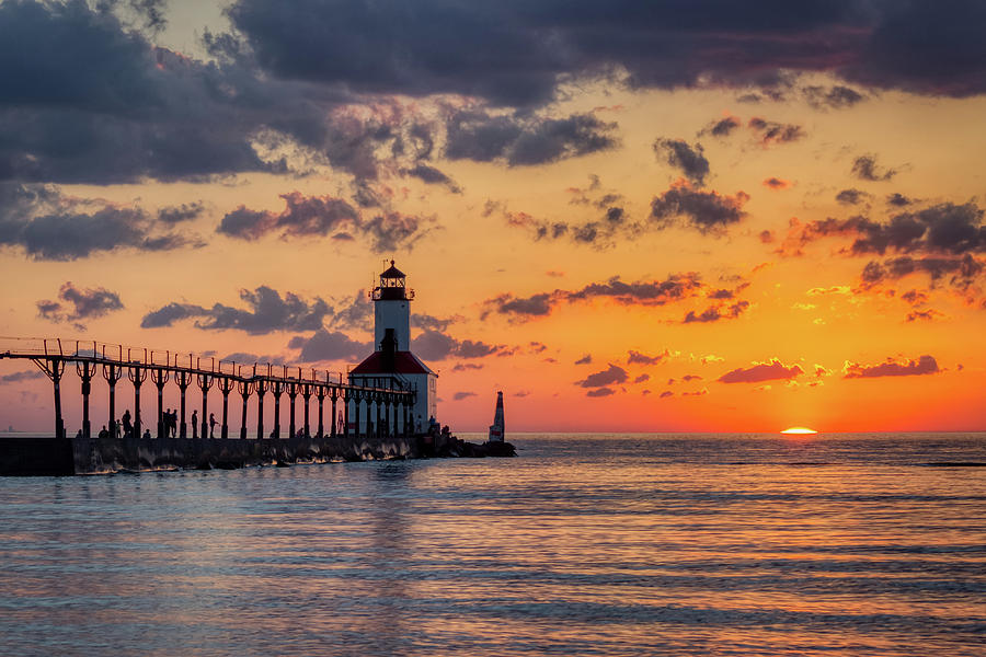 Dramatic Sunset at Michigan City East Pierhead Lighthouse by Andy Konieczny