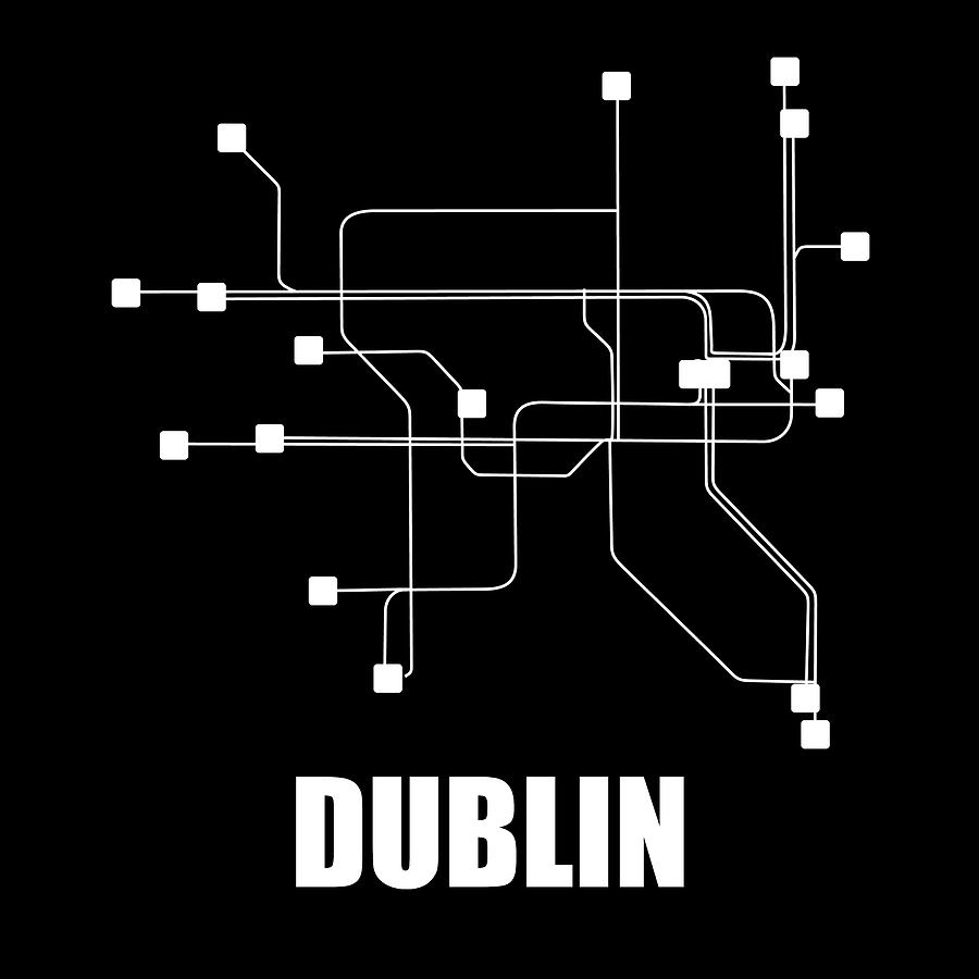 Dublin Digital Art - Dublin Black Subway Map 1 by Naxart Studio