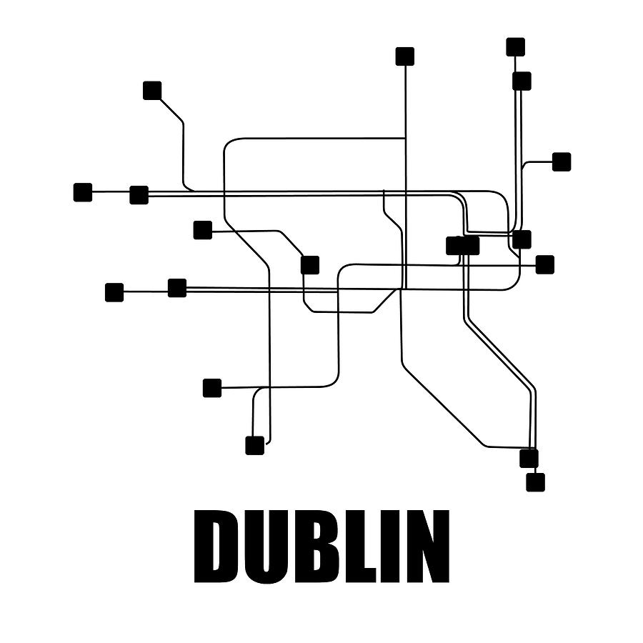 Dublin Digital Art - Dublin White Subway Map by Naxart Studio