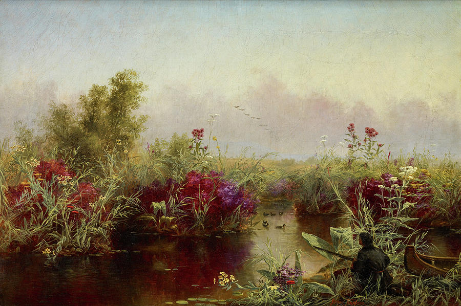 Jerome Thompson Painting - Ducks Hunting, 1867 by Jerome Thompson