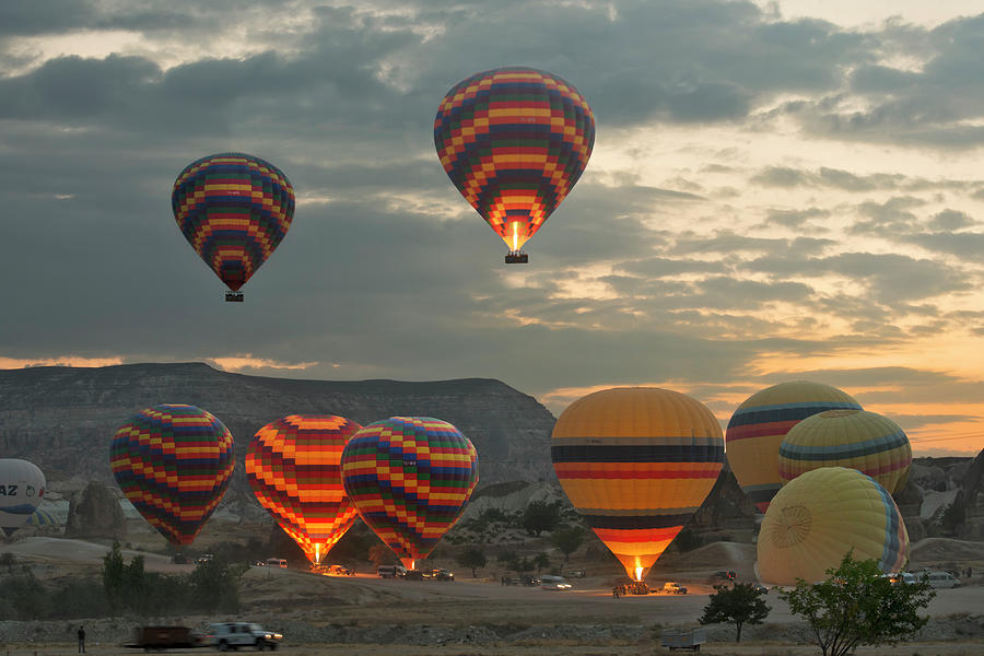 Early Morning Hot Air Balloons In Photograph by Izzet Keribar