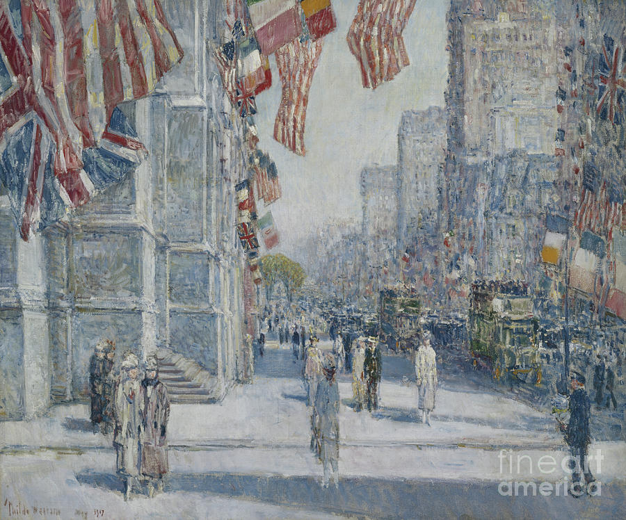 1917 Painting - Early Morning On The Avenue In May 1917 by Childe Hassam