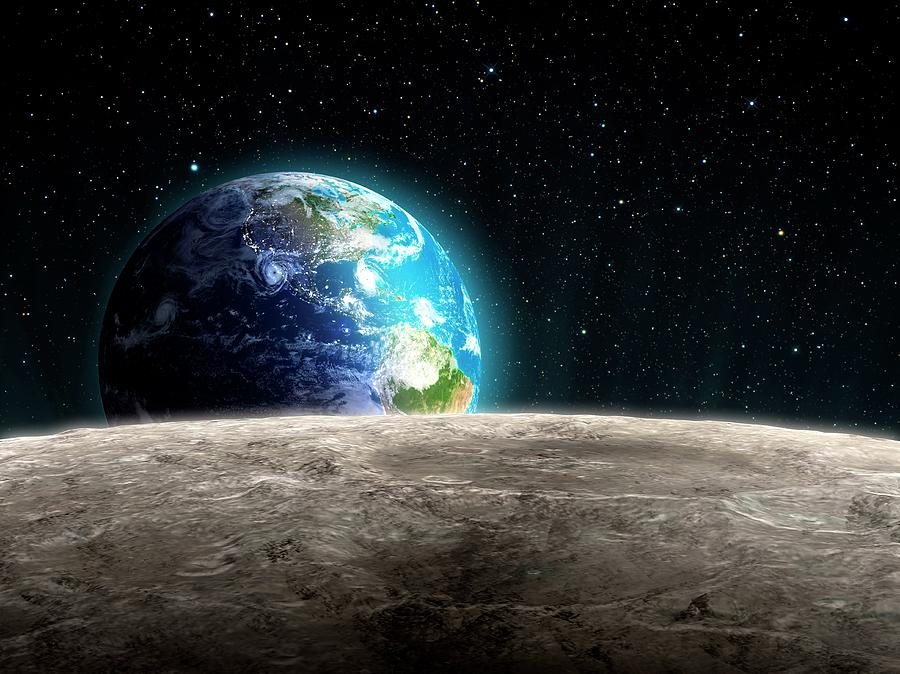 Earthrise From The Moon, Artwork Digital Art by Andrzej Wojcicki