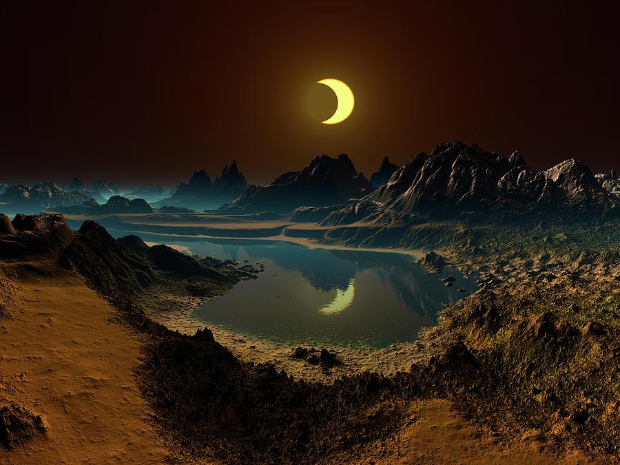 Eclipse Over Alien Landscape Photograph by Albert Klein