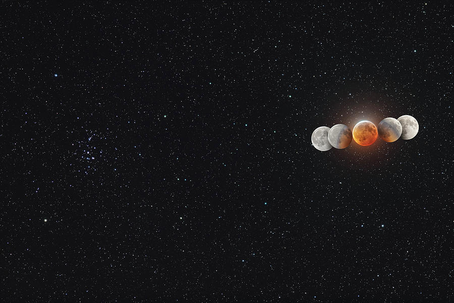 Eclipsed Moon And Umbral Shadow by Alan Dyer