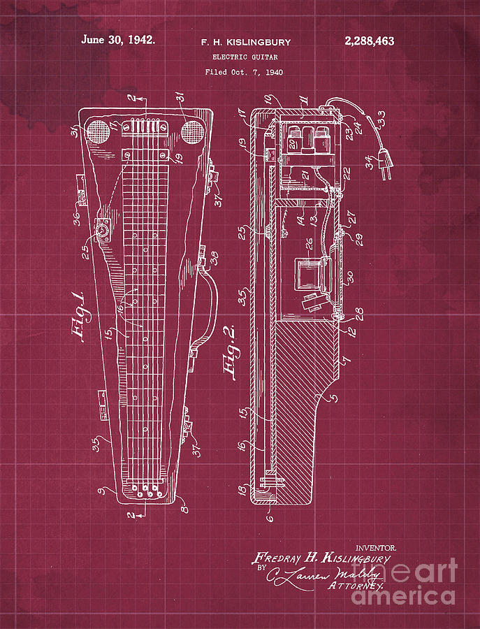 Electric Guitar Patent Year 1940 Drawing