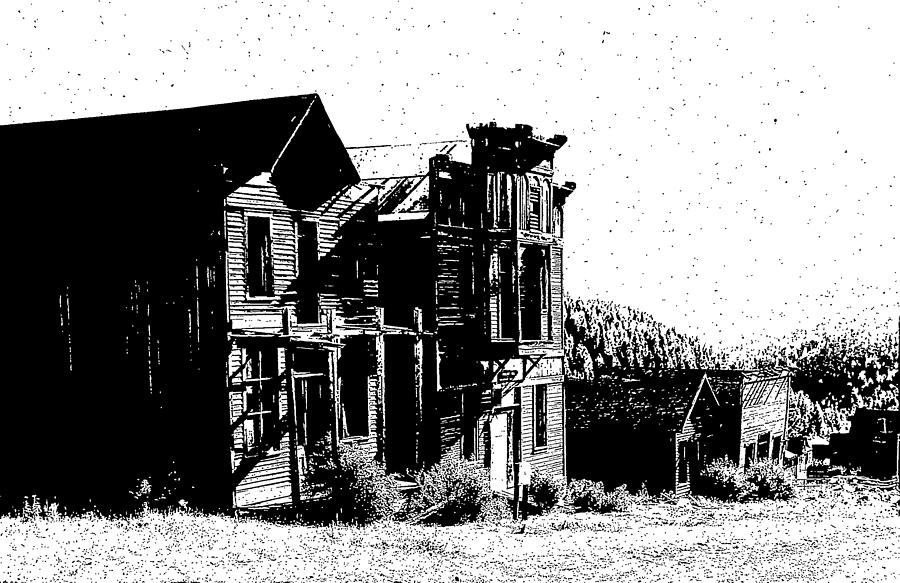 Ink Drawing - Elkhorn Ghost Town Montana by Kevin Heaney