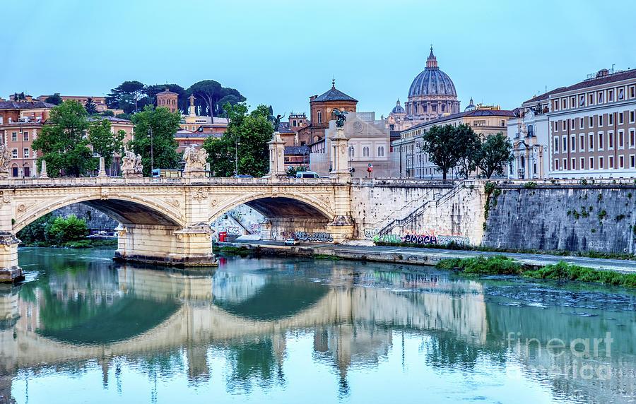 Emanuele II bridge and St. Peter's Basilica - Rome, Italy by Ulysse Pixel