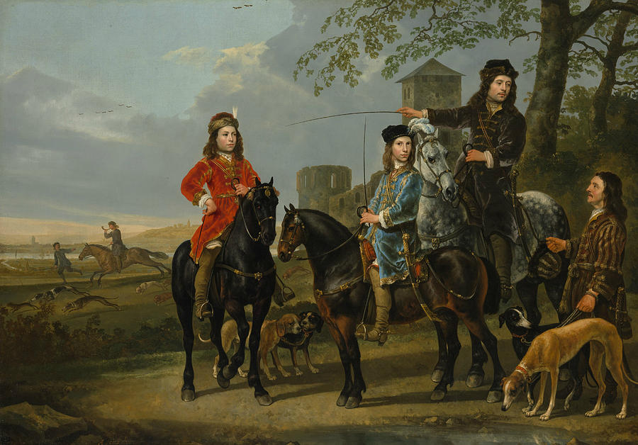 Dutch Painters Painting - Equestrian Portrait Of Cornelis And Michiel Pompe Van Meerdervoort With Their Tutor And Coachman by Aelbert Cuyp