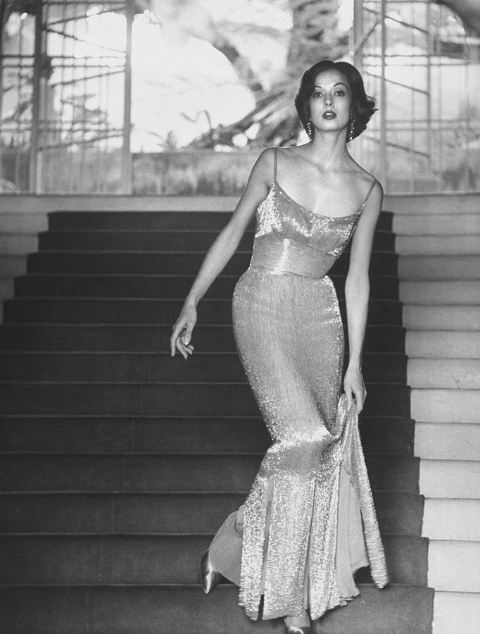 Evening Dress Designed By A California D Photograph by Gordon Parks