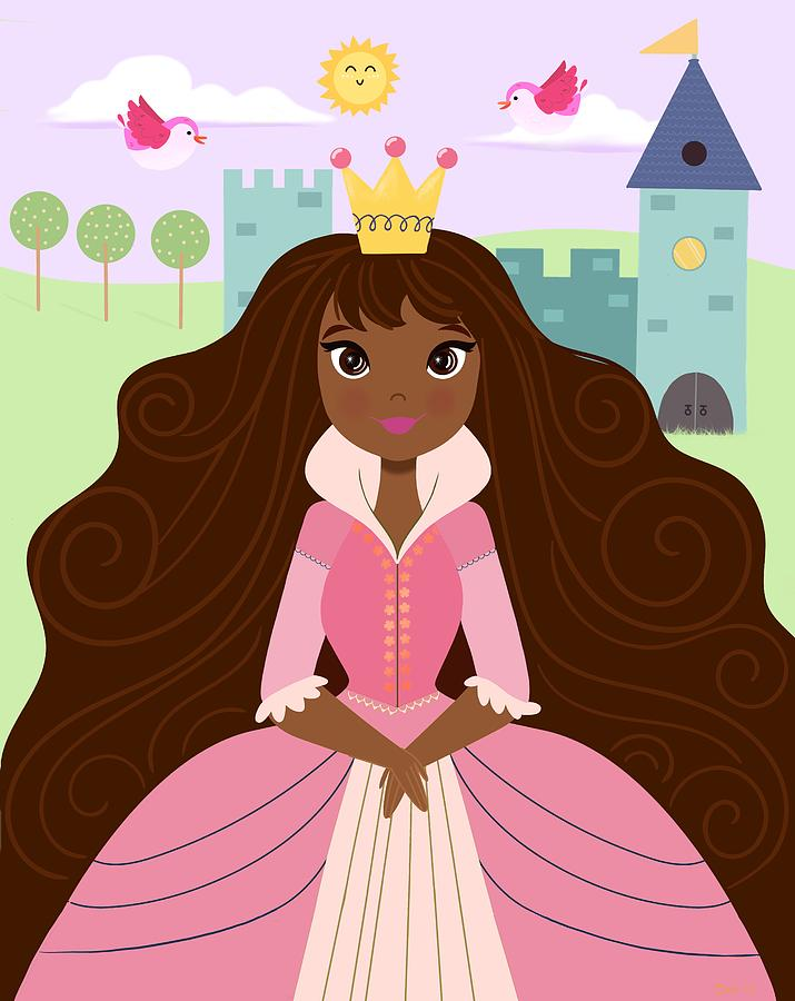 Fairy Tale Princess In A Green Dress With Her Story Book Castle