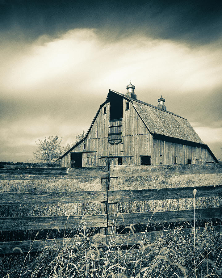 Fall Day On The Old Barn Bw Photograph