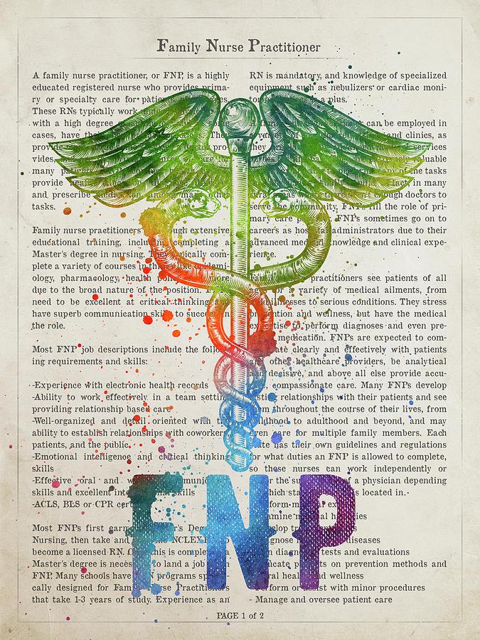 Nursing Digital Art - Family Nurse Practitioner Gift Idea With Caduceus Illustration 0 by Aged Pixel