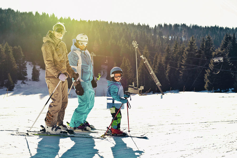 Family Photograph - Family On Skiing Holiday 1 by Microgen Images/science Photo Library
