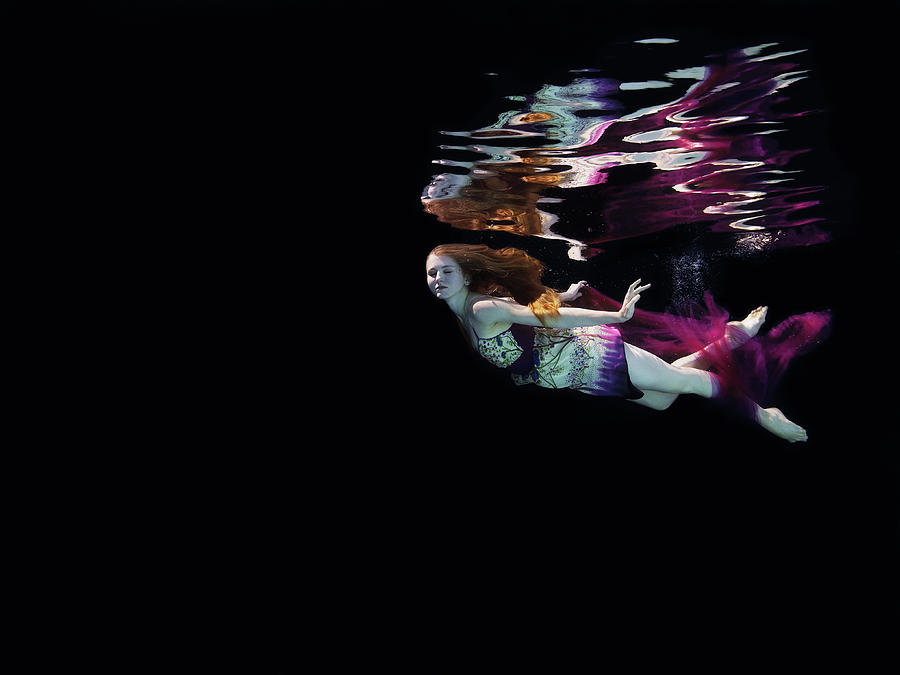 Female Dancer Floating Underwater Photograph by Thomas Barwick