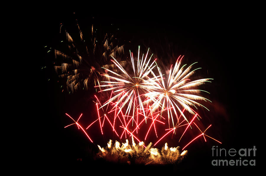 Black Background Photograph - Firework Display by Bernard Jaubert