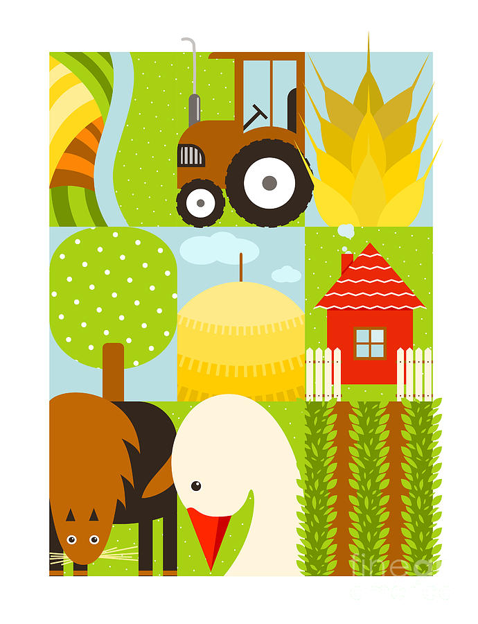 Country Digital Art - Flat Childish Rectangular Agriculture by Popmarleo