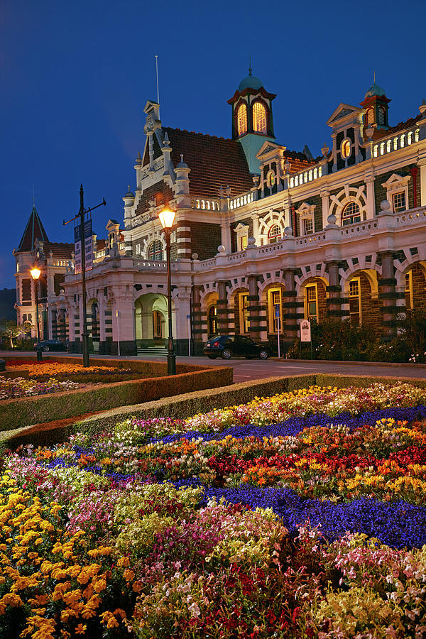 Architecture Photograph - Flower Garden And Historic Railway by David Wall