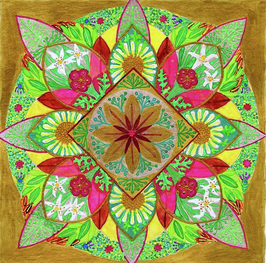 Flower Garden Mandala Painting by Sandy Thurlow