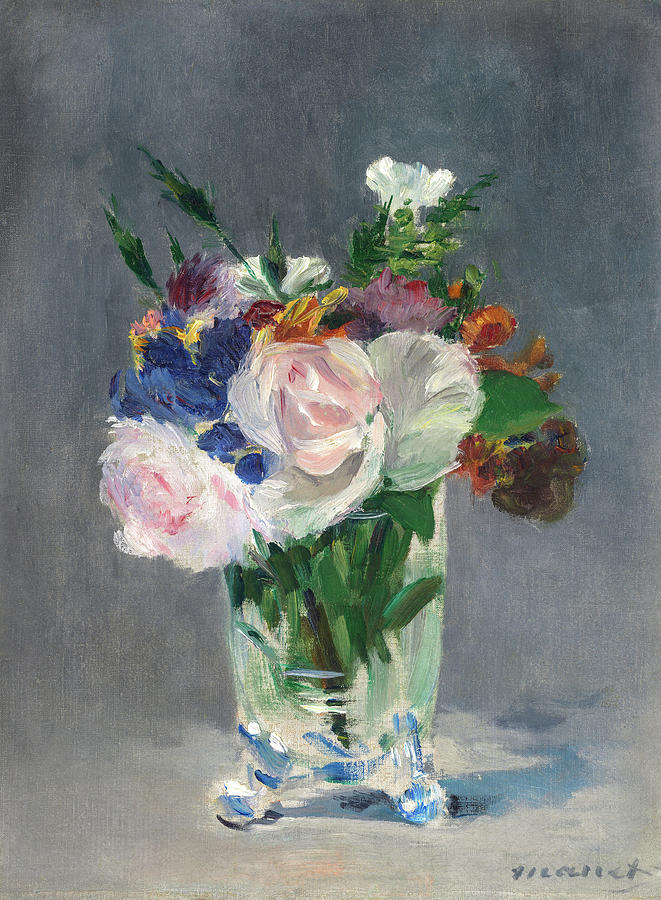Edouard Manet Painting - Flowers In A Crystal Vase, Circa 1882 by Edouard Manet
