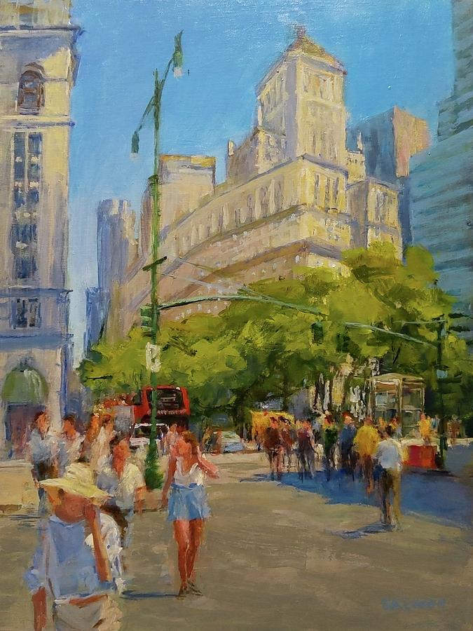 Wall Street Painting - Foot Traffic, Bowling Green by Peter Salwen