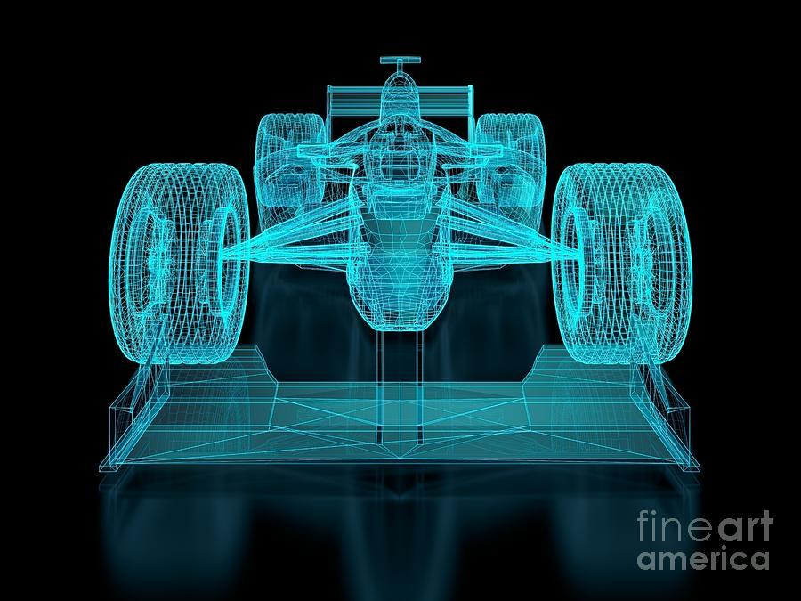 Aerodynamics Digital Art - Formula One Mesh. Part Of A Series 1 by Nuno Andre
