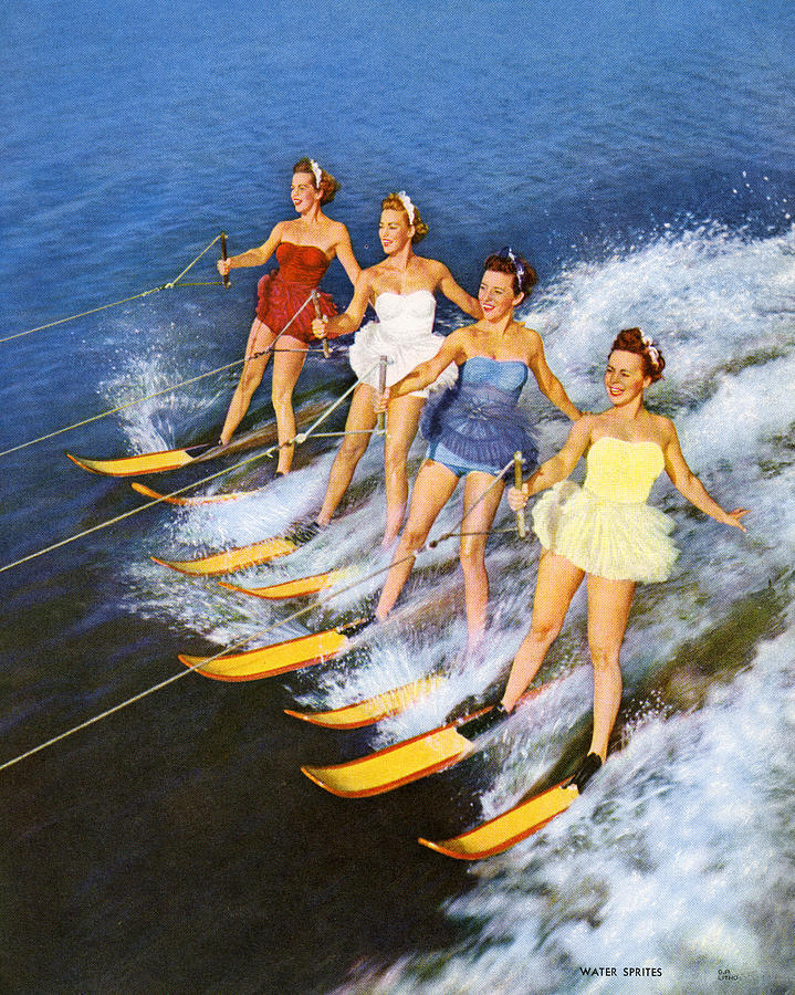 Four Women Waterskiing Photograph by Graphicaartis