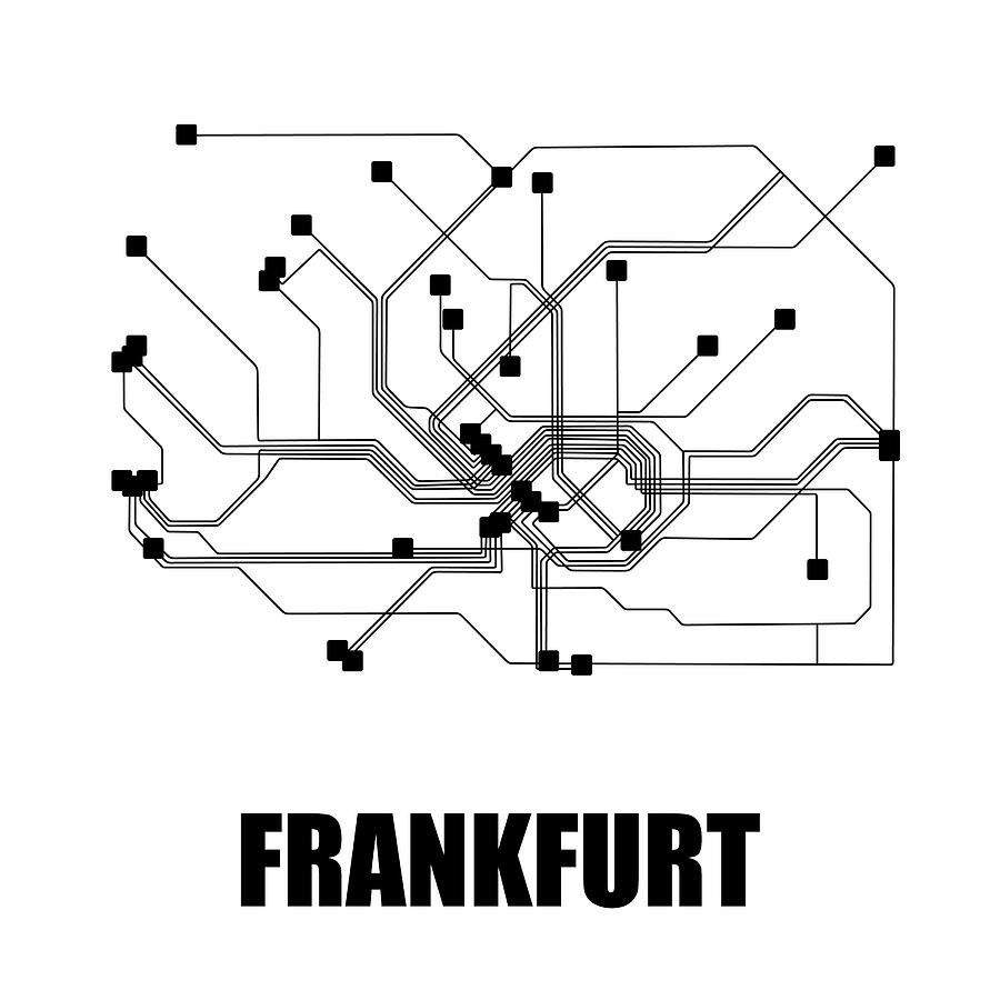 Frankfurt Digital Art - Frankfurt White Subway Map by Naxart Studio