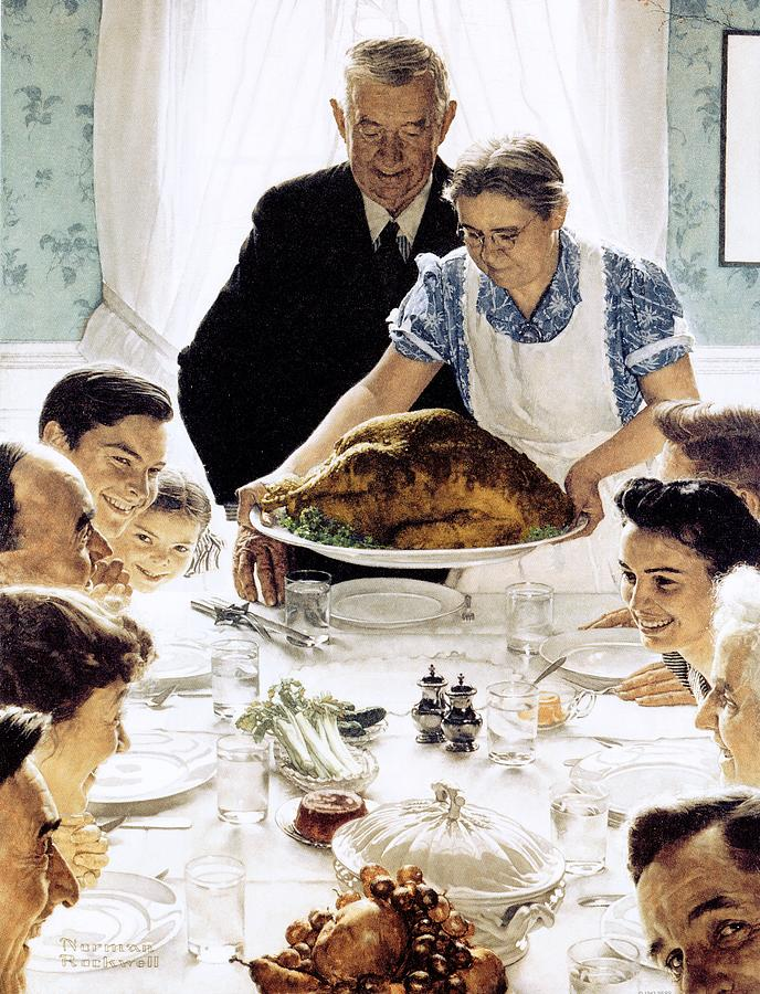 Family Drawing - Freedom From Want by Norman Rockwell