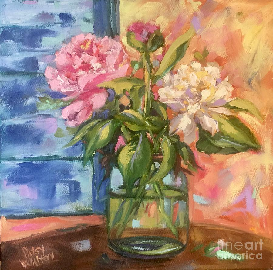 Peonies Painting - Freshly Picked by Patsy Walton