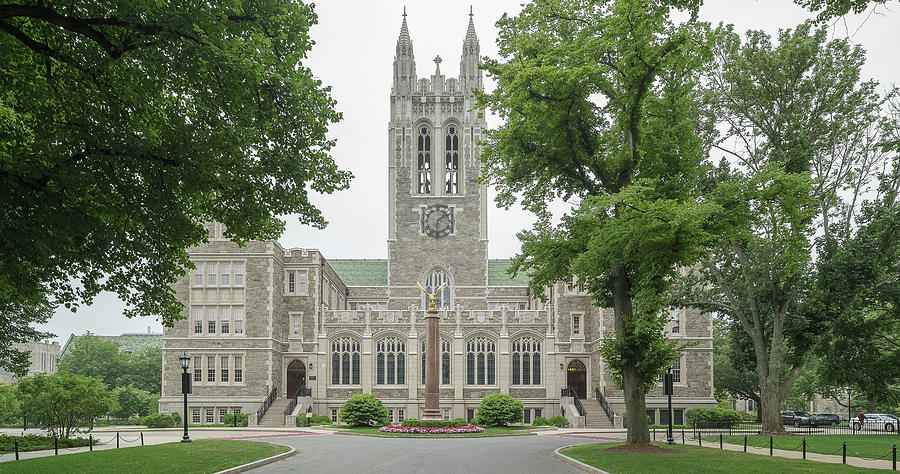 Horizontal Photograph - Front View Of Gasson Hall, Chestnut by Panoramic Images