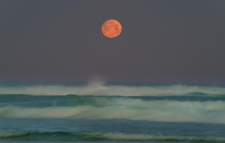 Moon Photograph - Full Moon Over the Pacific by Jonathan Hansen