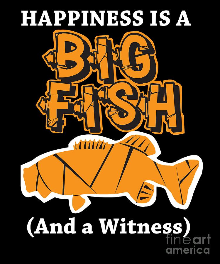 Funny Digital Art - Funny Fishing Happiness Is A Big Fish Carp Hook Gift by TeeQueen2603