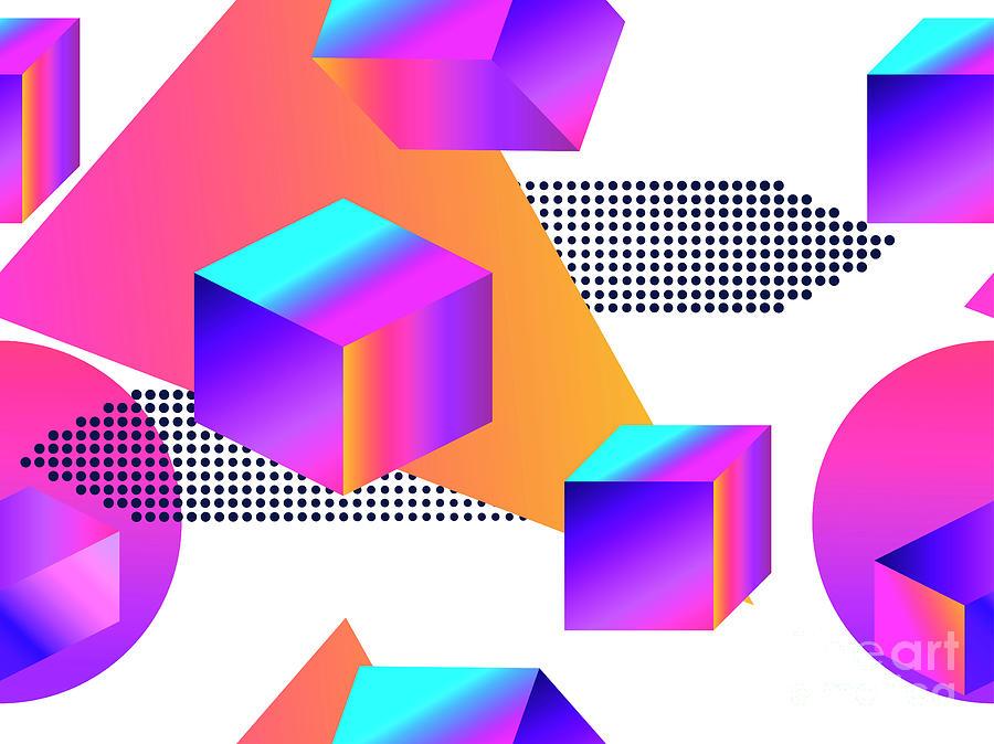 Futuristic Seamless Pattern With Digital Art by Andrii Vinnikov