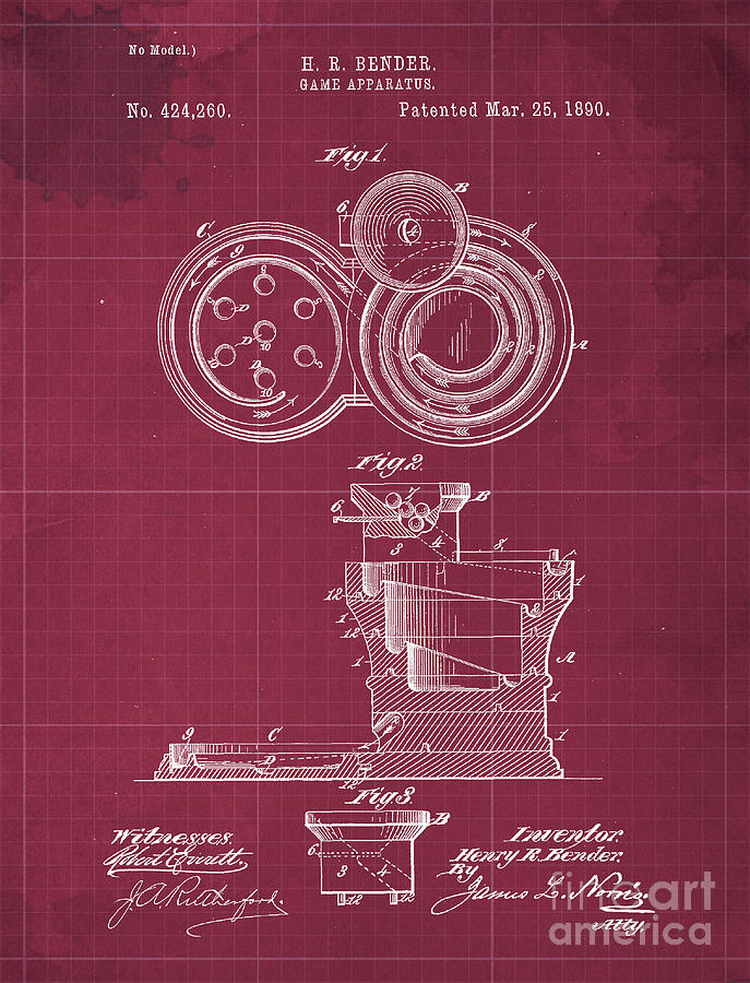 Game Apparatus Patent Year 1890 Drawing