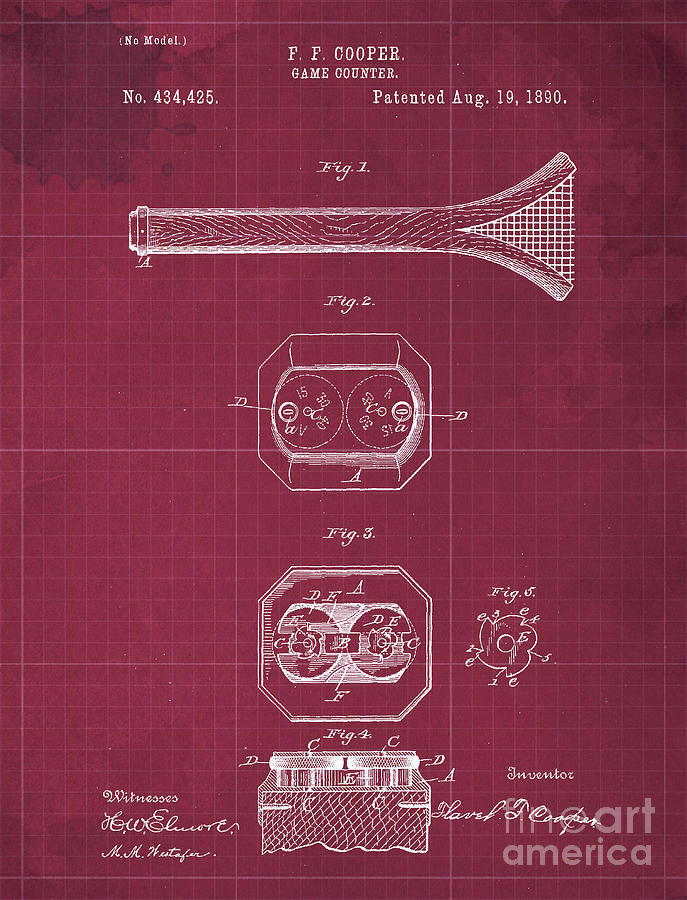 Game Counter Antique Patent Year 1890 Drawing