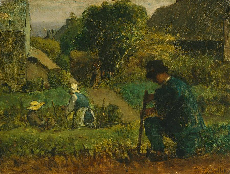 Garden Scene by Jean-Francois Millet