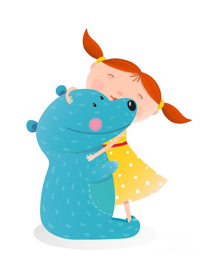 Play Digital Art - Girl Hugging Toy Cute Bear. Little Girl by Popmarleo