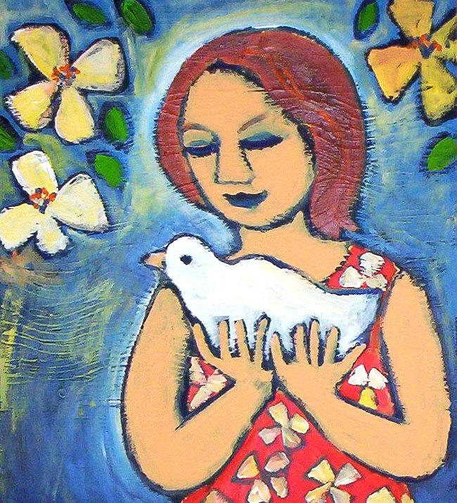 Girl with Bird by Winsome Gunning