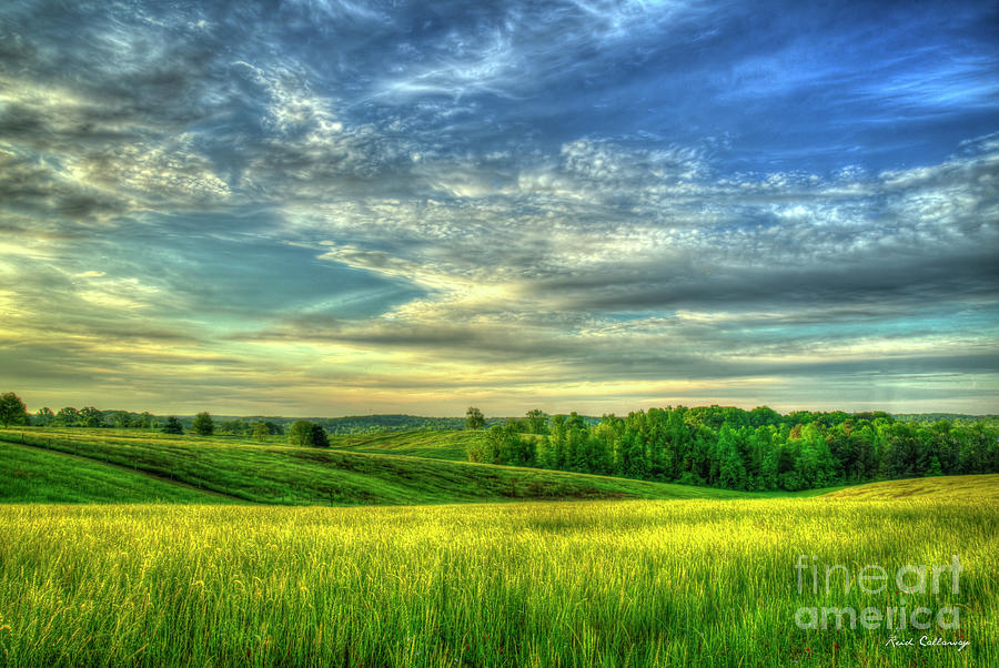 Glorious Sunrise Landscape Hay Farming Art by Reid Callaway