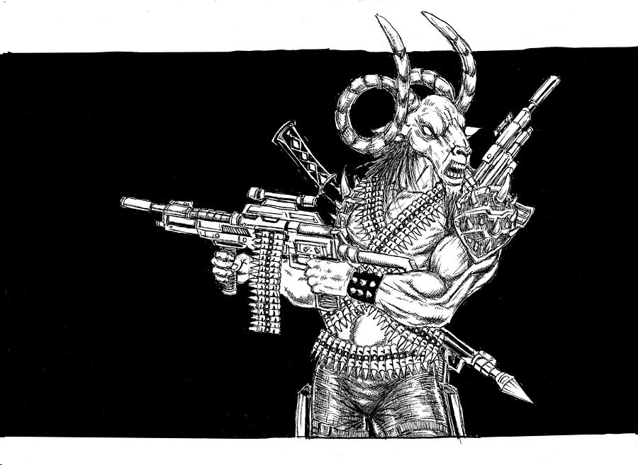 Goat With Guns by Alaric Barca