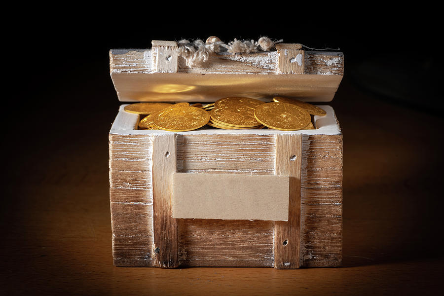 Gold Coins In A Small Wooden Box