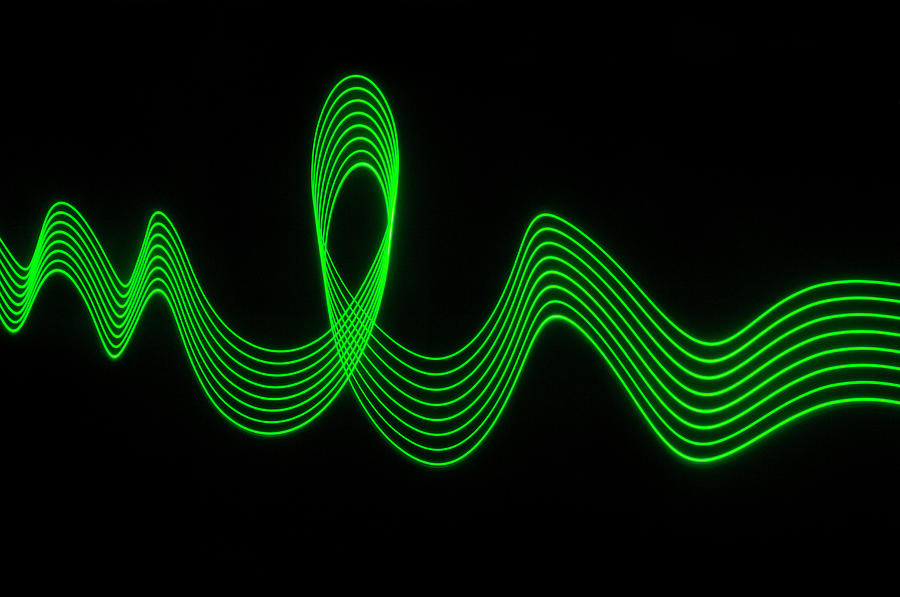Green Abstract Coloured Lights Trails Photograph by John Rensten