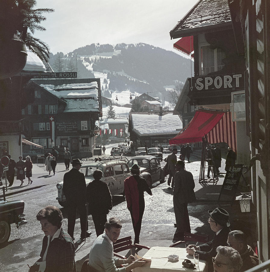 Gstaad Town Centre Photograph by Slim Aarons