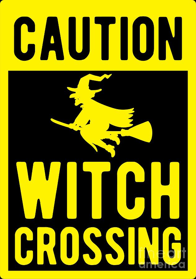Halloween Costume Digital Art - Halloween Shirt Caution Witch Crossing Gift Tee by Haselshirt