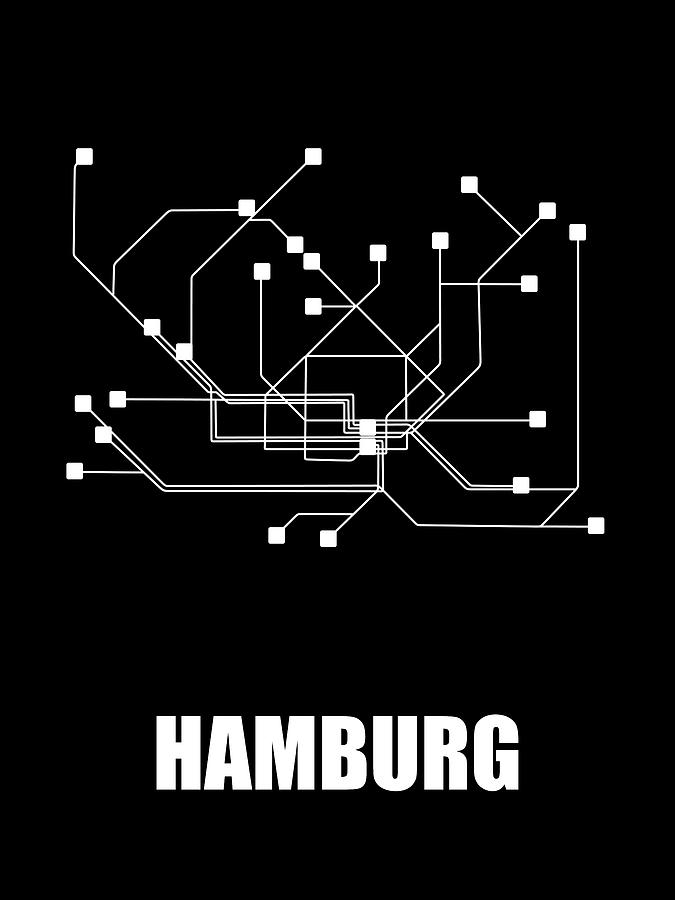 Hamburg Subway Map.Hamburg Black Subway Map By Naxart Studio